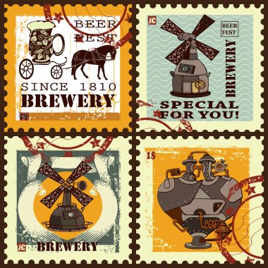 Set of postage stamps for beer theme.
