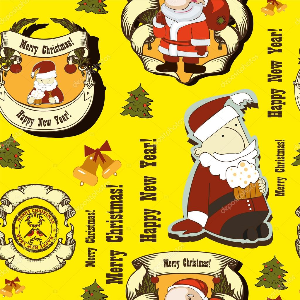 Seamless pattern with Santa