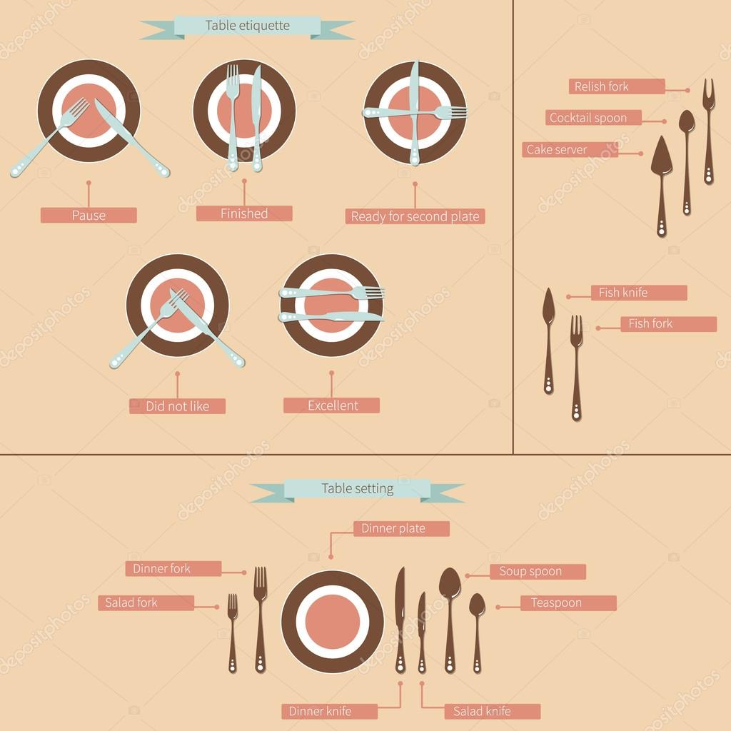 Table setting cutlery infographic — Stock Vector © dreamcat #105734626