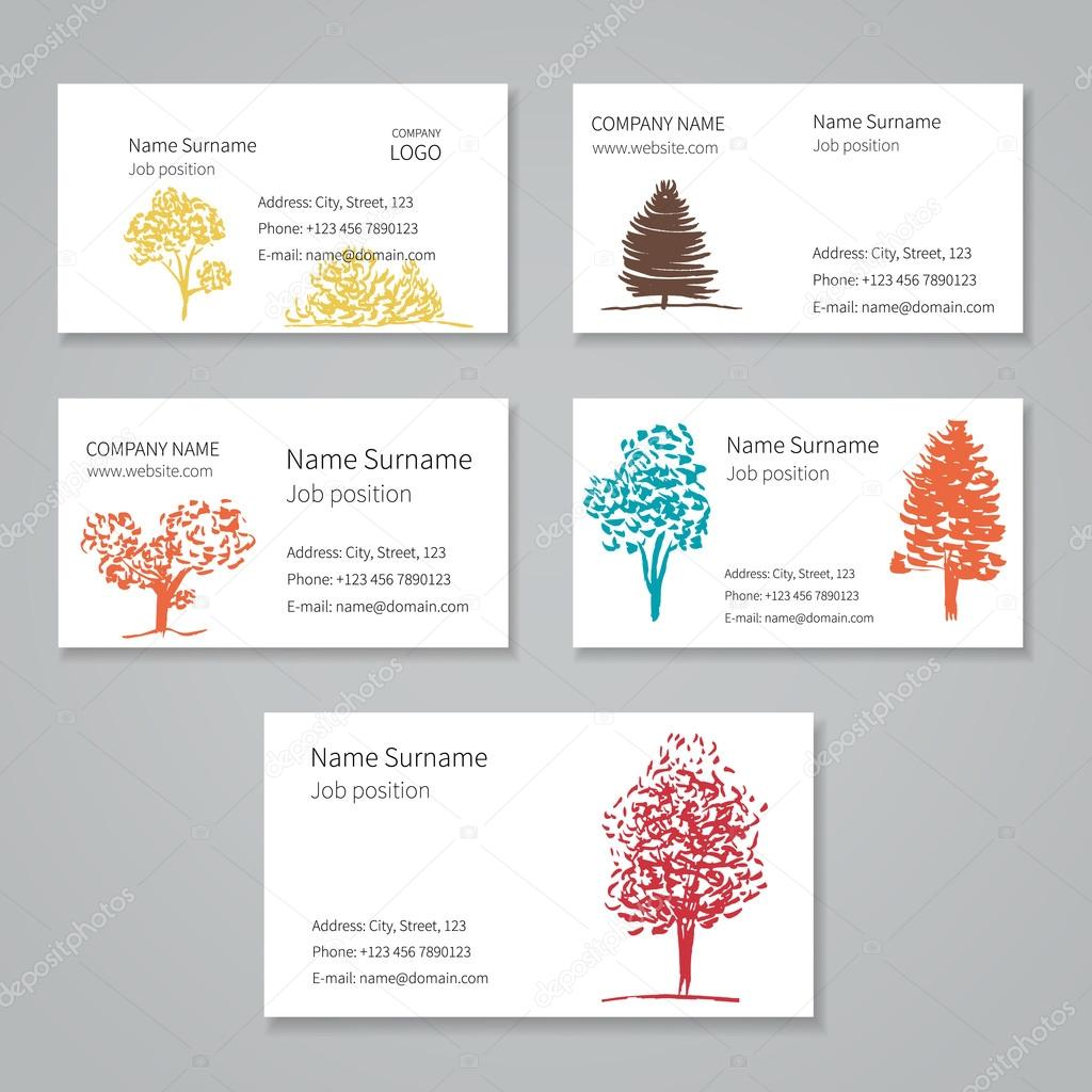 Business cards collection with trees