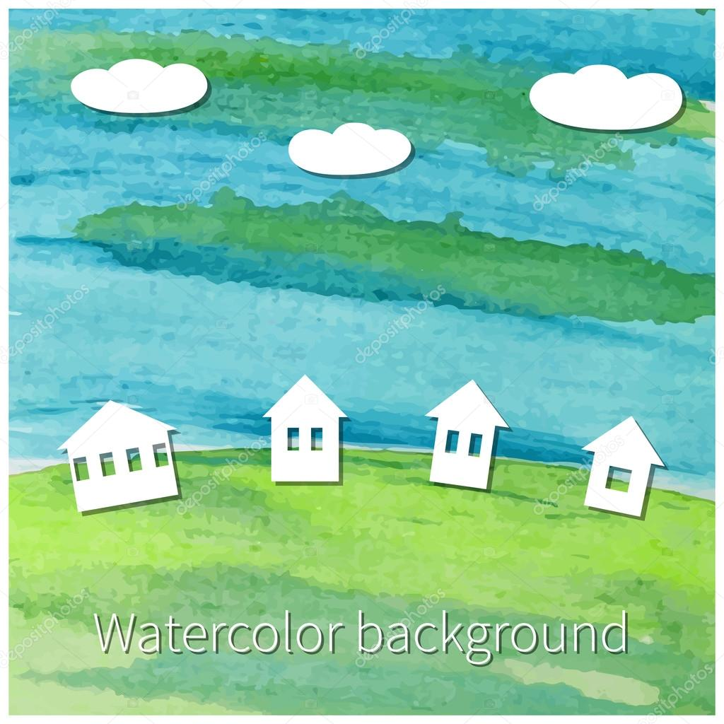 Watercolor background with  houses and clouds