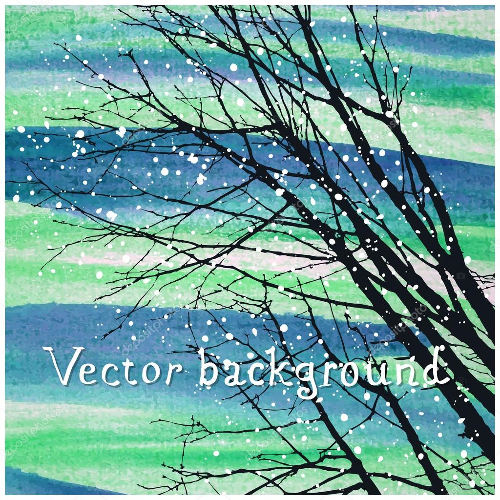 Watercolor Silhouette of trees