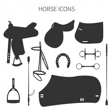 Set of different items for horses.