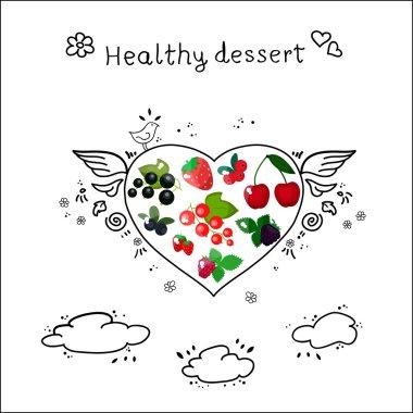 heart shape made of berries