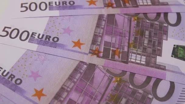 500 euro bills rotating on the table. Rotation of paper money, close-up, FullHD
