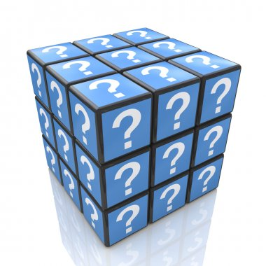 FAQ cube with a question marks