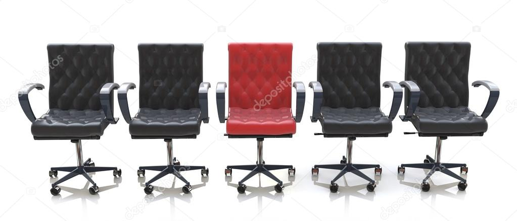 Red office chair among black chairs isolated on white background in the  design of information relating to the business and meeting — Εικόνα από  Terminator3D 930dab160b5