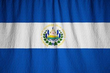 Closeup of Ruffled El Salvador Flag, El Salvador Flag