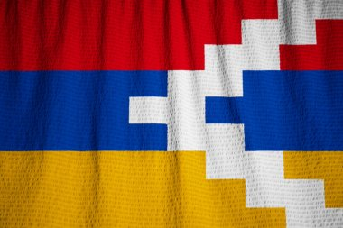Closeup of Ruffled Nagorno Karabakh Flag, Nagorno Karabakh Flag