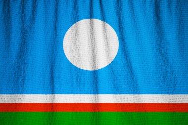 Closeup of Ruffled Sakha Republic Flag, Sakha Republic Flag