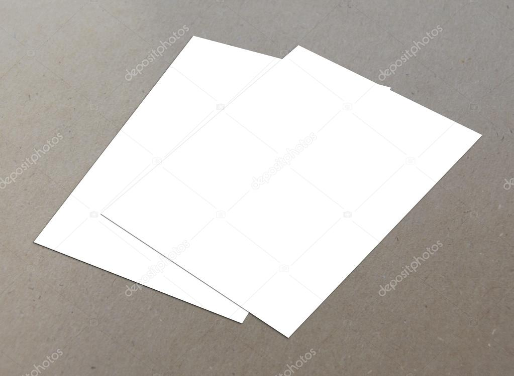 Blank white paper A-4 fly-er collection on floor stock vector