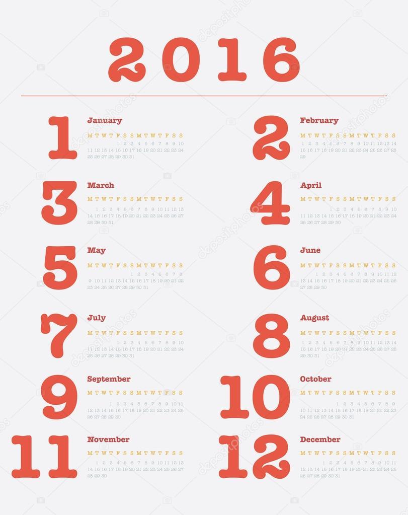 poster calendar for 2016 vector design print template stock