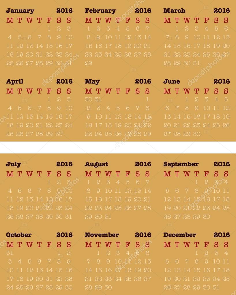 Visitenkartengröße Kalender Für 2016 Einfache Vector Design