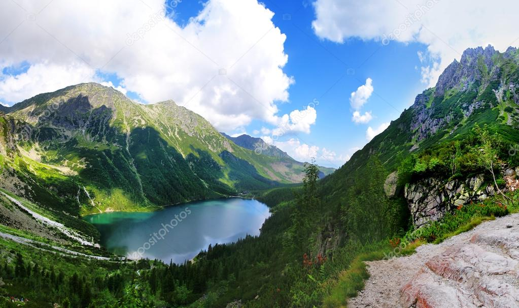 Beautiful scenery of Tatra mountains and Black Pond