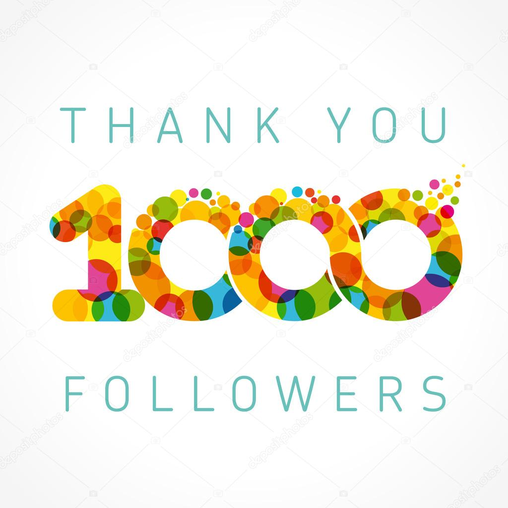 Thank you 1000 followers color numbers — Stock Vector