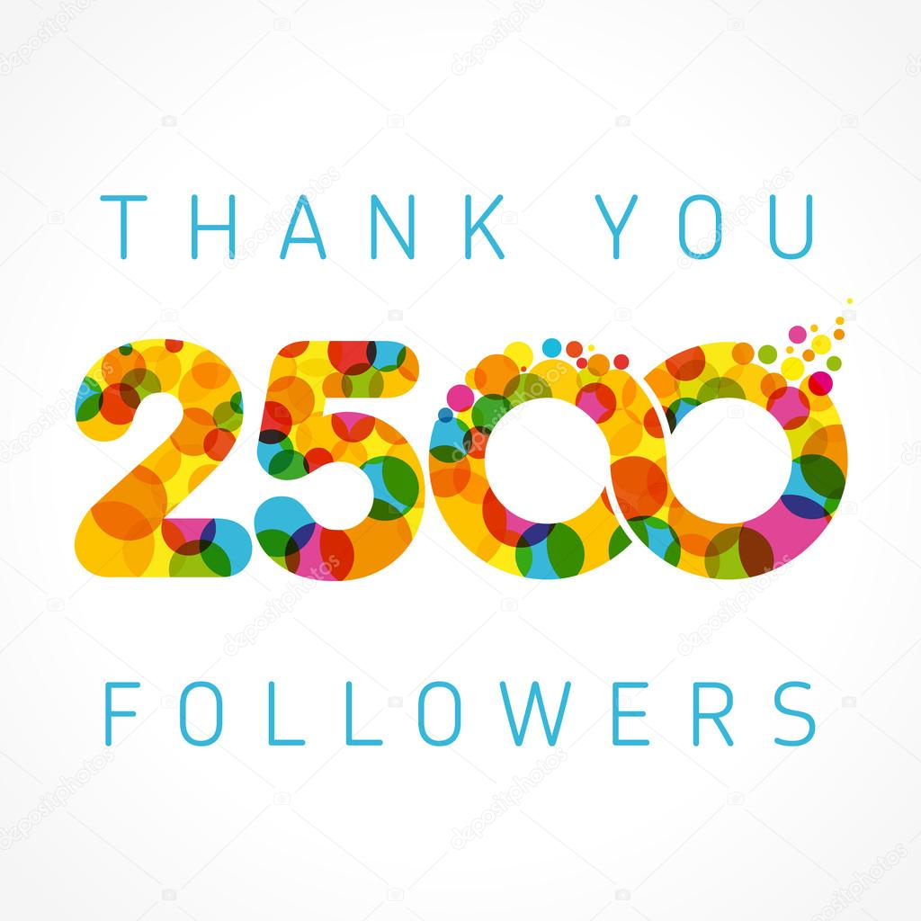Thank you 2500 followers colored numbers — Stock Vector