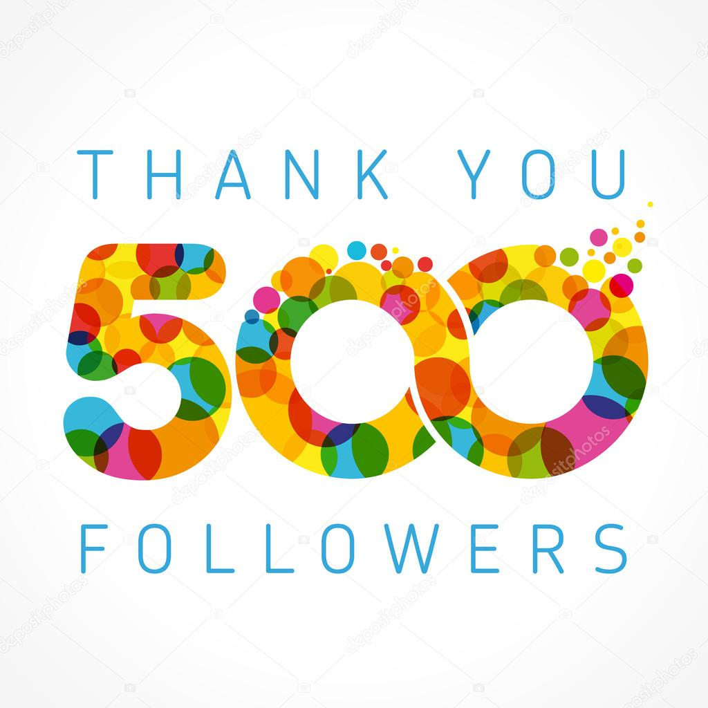 Thank you 500 followers colored numbers — Stock Vector
