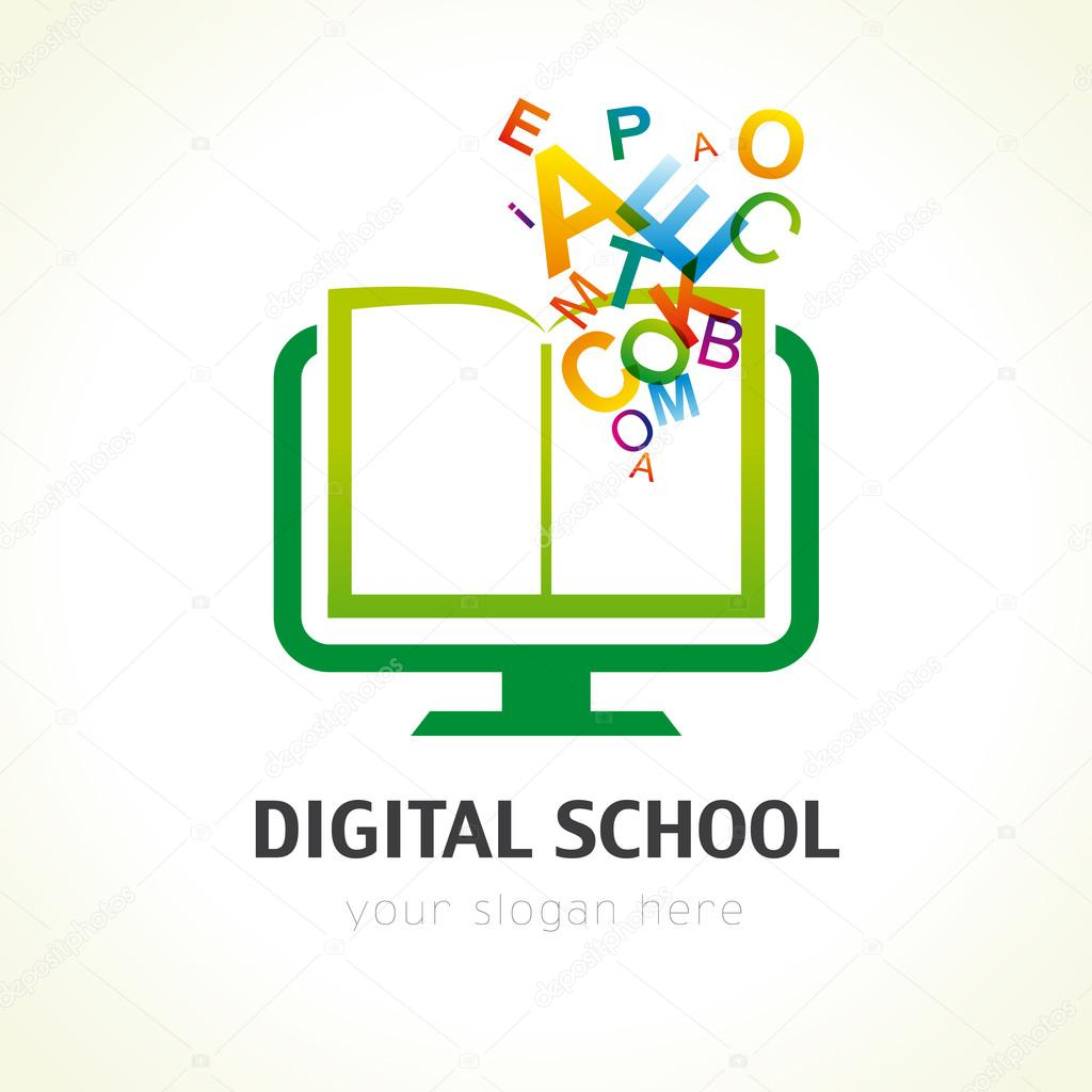 Digital School Book Alphabet Logo Stock Vector