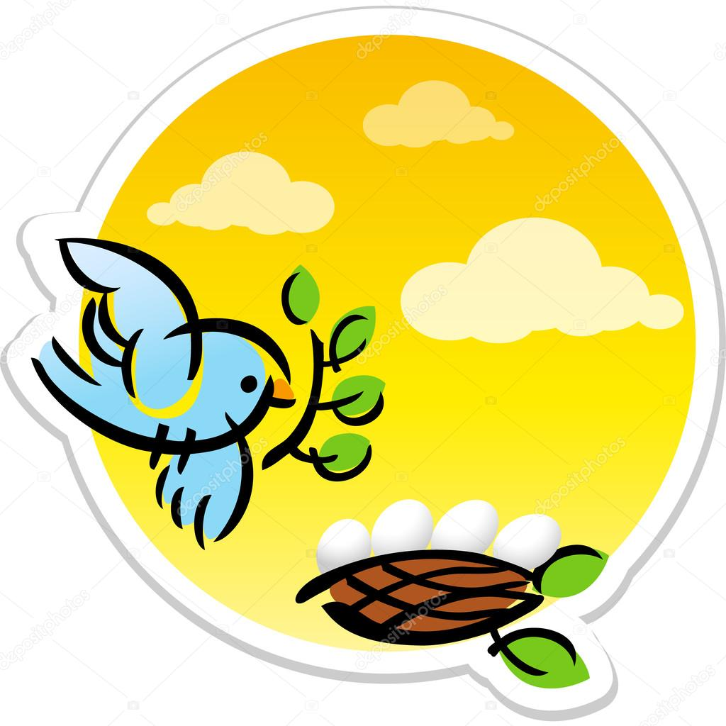 animated mother bird and eggs in nest vector sticker u2014 stock