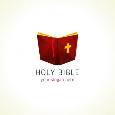Online holy bible or christian literature vector logo.