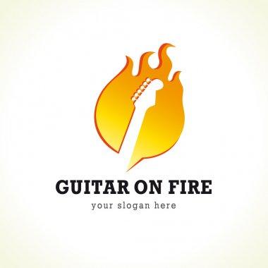Guitar on fire logo