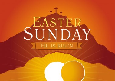 Easter sunday holy week sunrise card