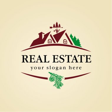 Real estate near wood zone vector logo. House for sale sign.