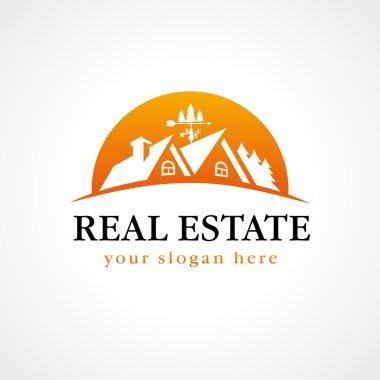 Real estate logo wood sun