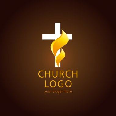 Church flame cross logo