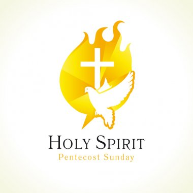 Holy Spirit Pentecost Sunday vector greetings. Fiery flaming shining glowing sign gold colored, white flying dove in sky. Christian religious invite flyer. Trinity holiday celebrating and peace symbol. Church logo. stock vector