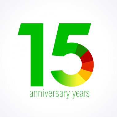 Template logo 15th anniversary with a 5 in the form of a graph
