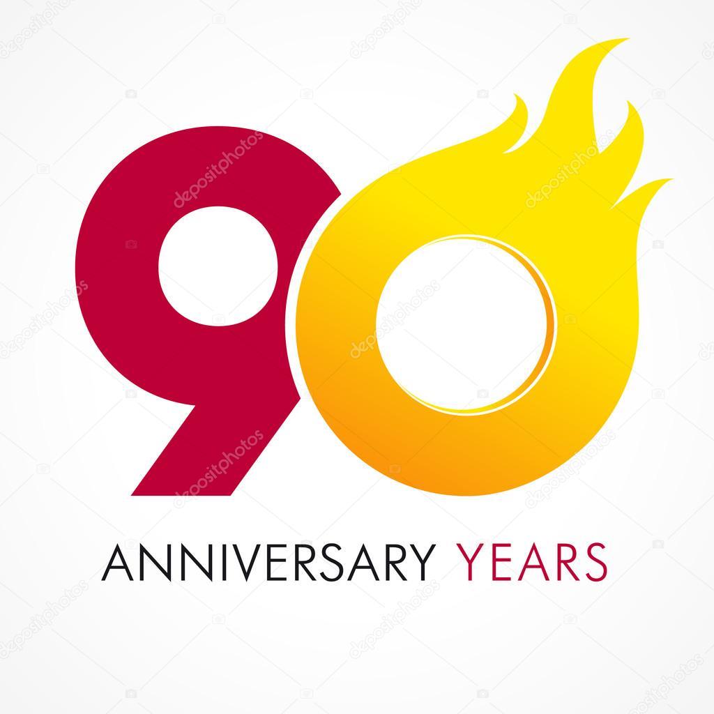 Depositphotos Stock Illustration 90 Anniversary Flame Logo Vector Th Year