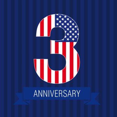 Anniversary 3 US flag logo.
