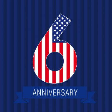 Anniversary 6 US flag logo.