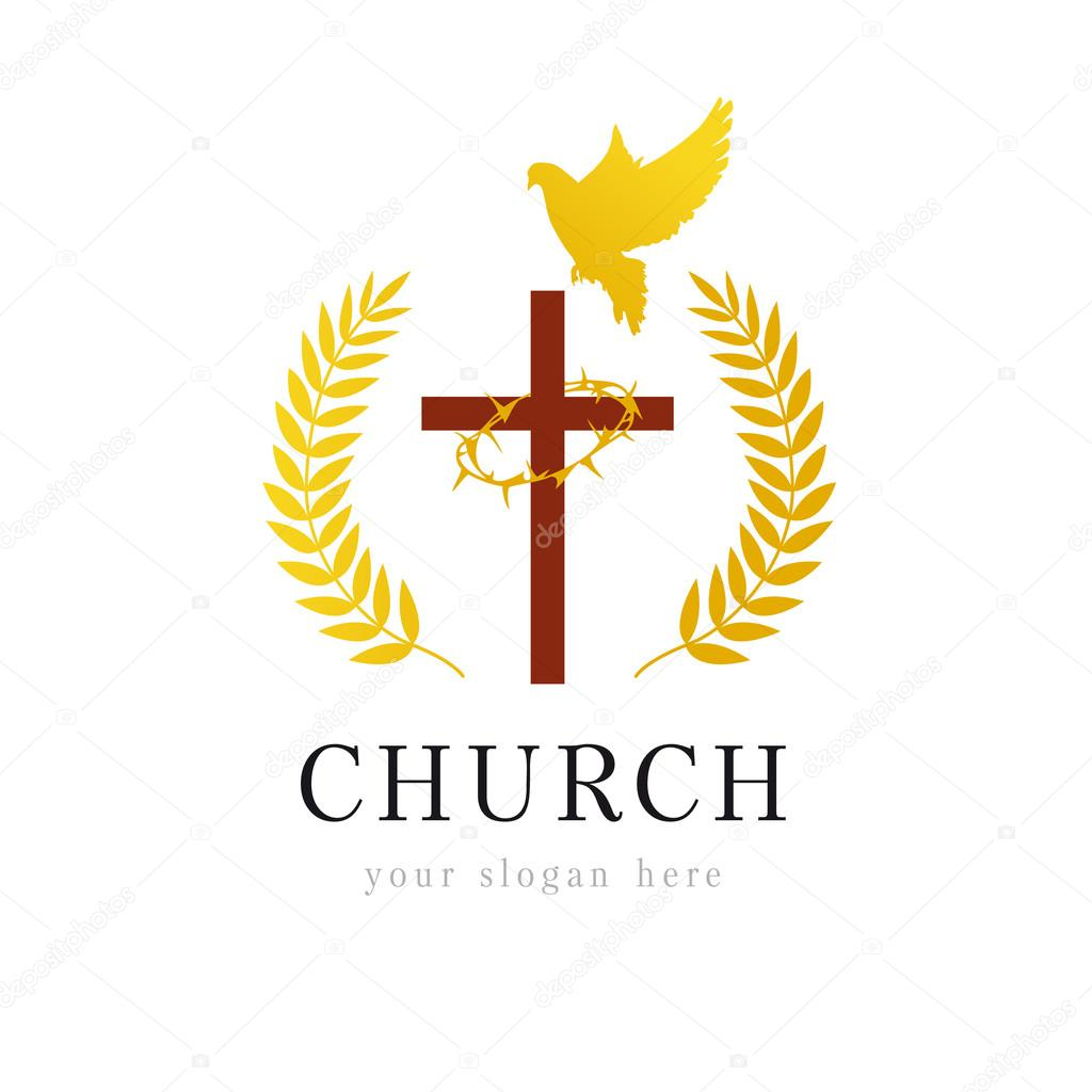 Dove cross thorns church logo stock vector koltukovalek 86842946 christian church vector logo wooden crucifix flying dove gold colored palms branches win crown of thorns religious bible educational victorious altavistaventures Images