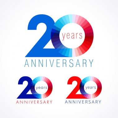20 anniversary red and blue logo.