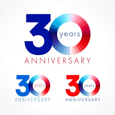 30 anniversary red and blue logo.