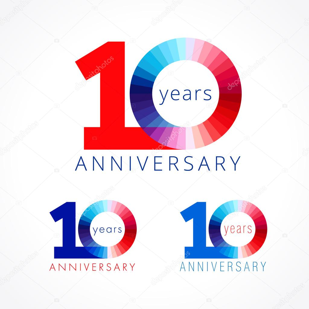 10 Anniversary Red And Blue Logo Stock Vector