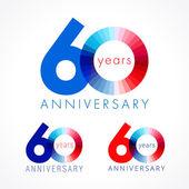 60 Jahre rotes und blaues Logo.
