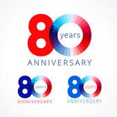 Fotografie 80 Jahre rote und blaue logo