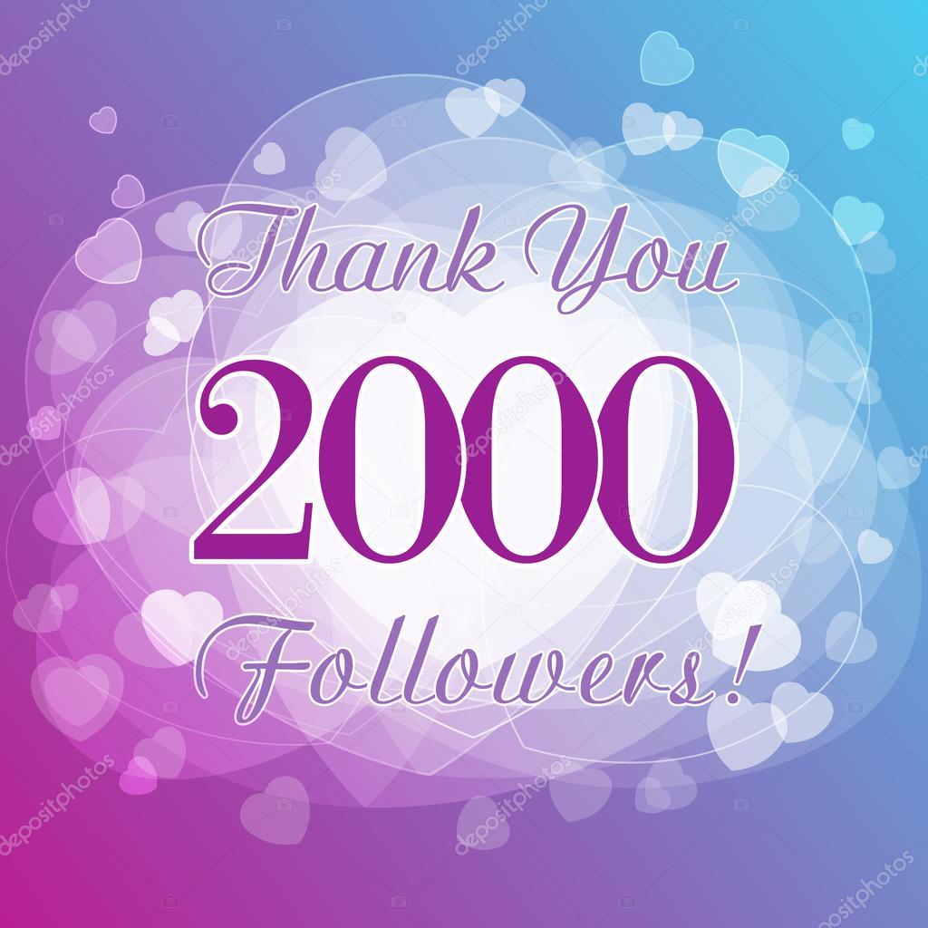 Thank You 2000 Followers Card Stock Vector Koltukovalek 97791752