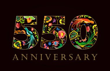 550 anniversary vintage colorful ethnic numbers.