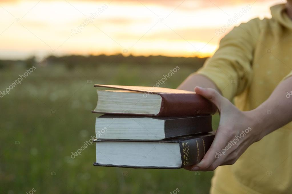 Female hands holding opened hardback book, diary against sunset