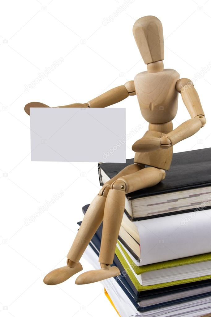 Carte De Visite Affiche A Stack Of Colorful Books Open Book Wooden Mannequin Tries To Get Up The Image Vim