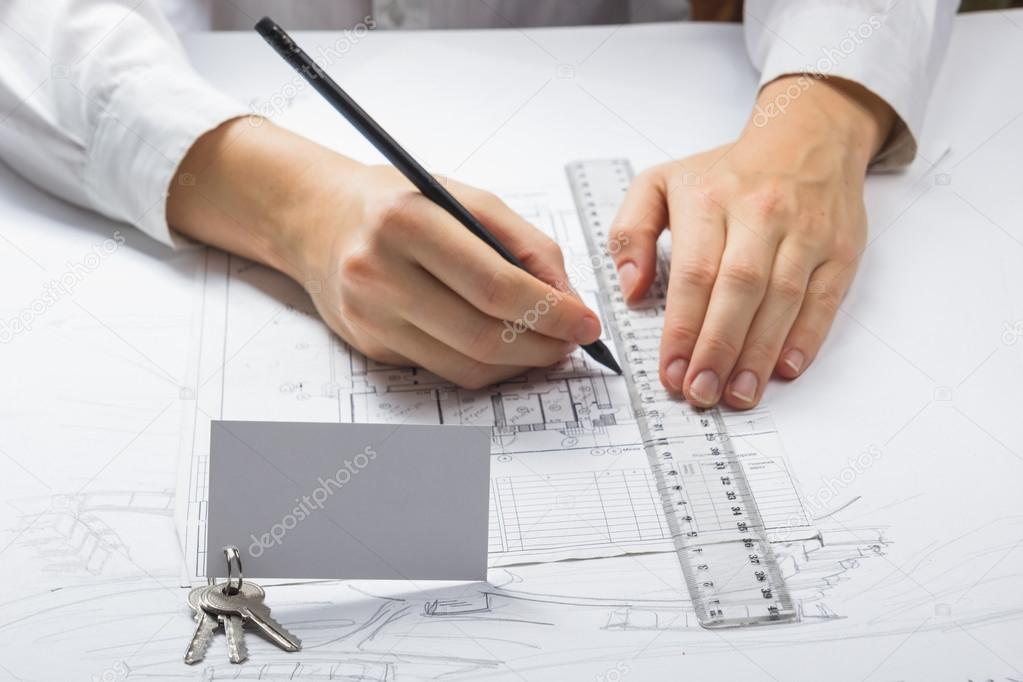 Architect working on blueprint architects workplace architectural architects workplace architectural project blueprints ruler calculator construction real estate concept engineering tools top view foto de vim malvernweather Gallery