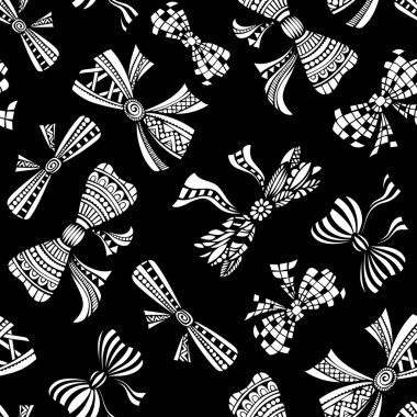 Seamless pattern of various bows.