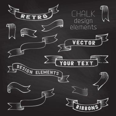 Set of retro ribbons on chalkboard background.
