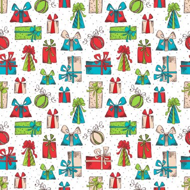 Seamless pattern of sketch gifts.