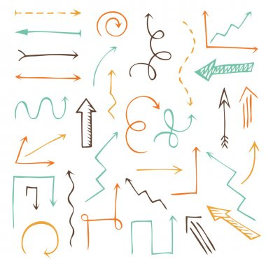 Vector set of sketch arrows.