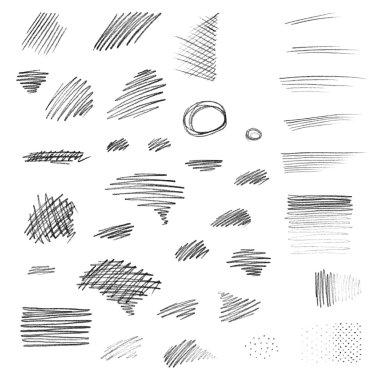 Set of hand drawn pencil strokes.